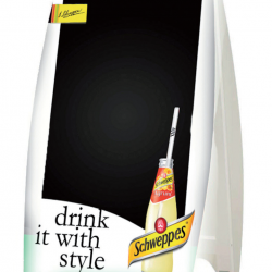 Chalk a board Schweppes Agrum made in polystyrene with metallic base