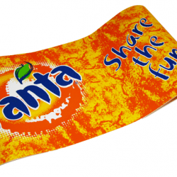 In store promotion foil of cardboard for Fanta